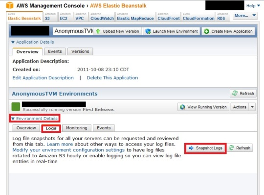 Screenshot of the TVM application showing how to get the logs.